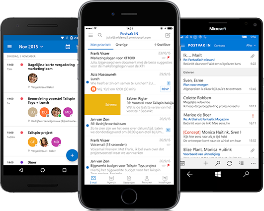 Outlook app op telefoon